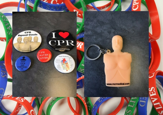 CPR Manikin Keychain and CPR Buttons