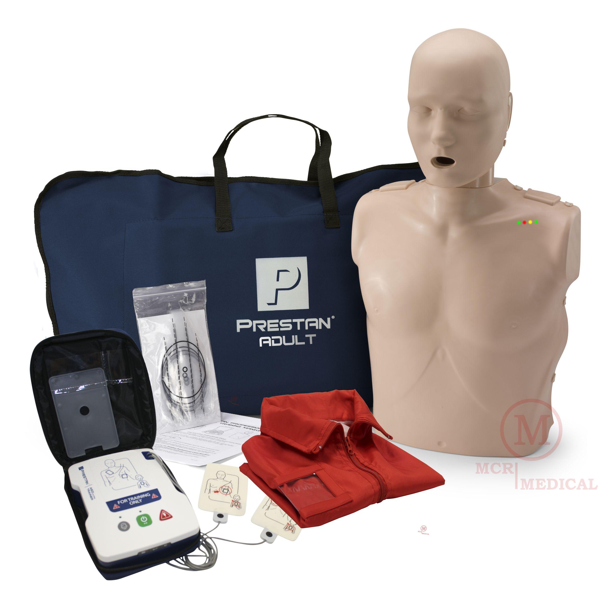 CPR Training Kit w  Adult Manikin with Feedback & Prestan AED Trainer,  Medium Tone