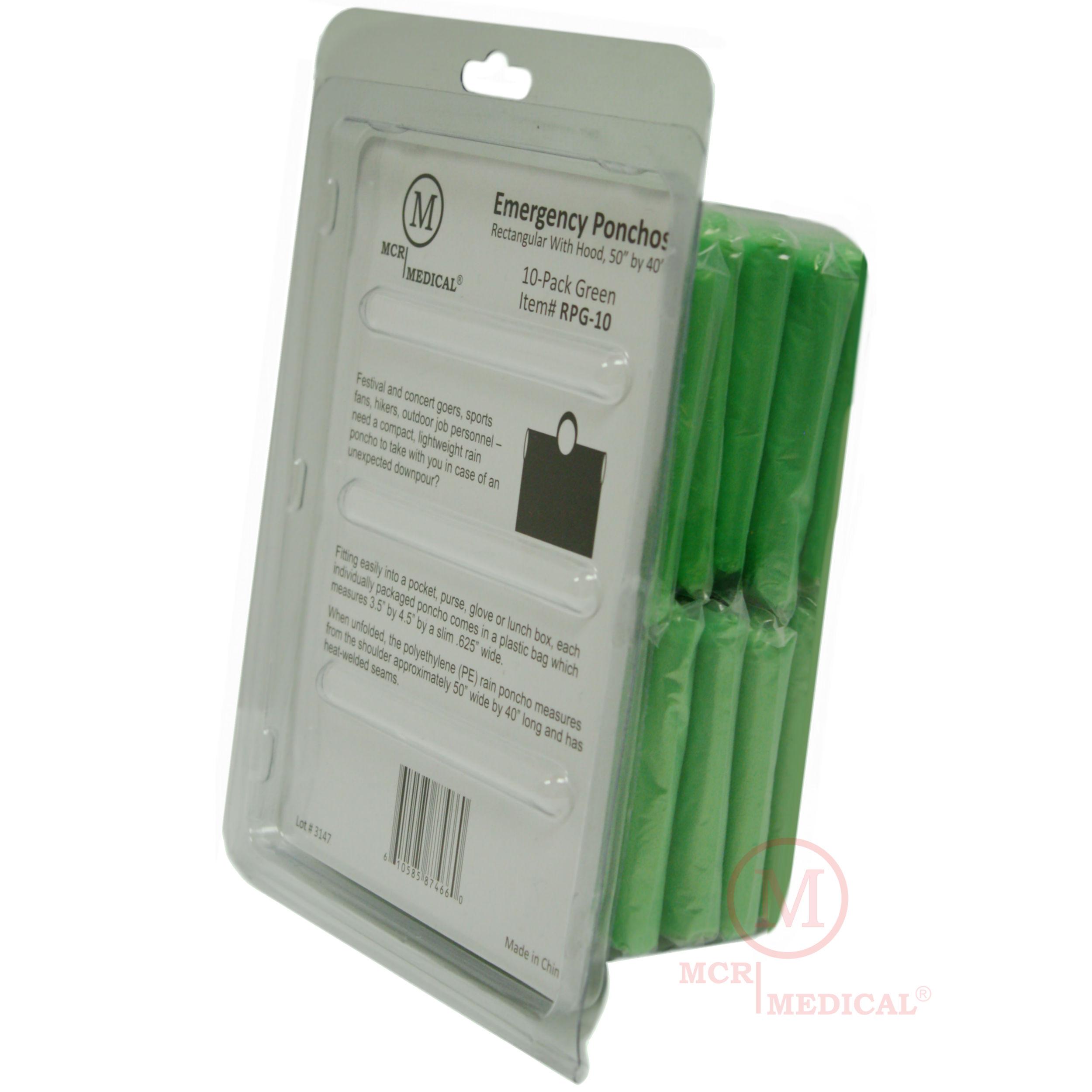 grabngo emergency rain poncho rectangular with hood mcr medical supply